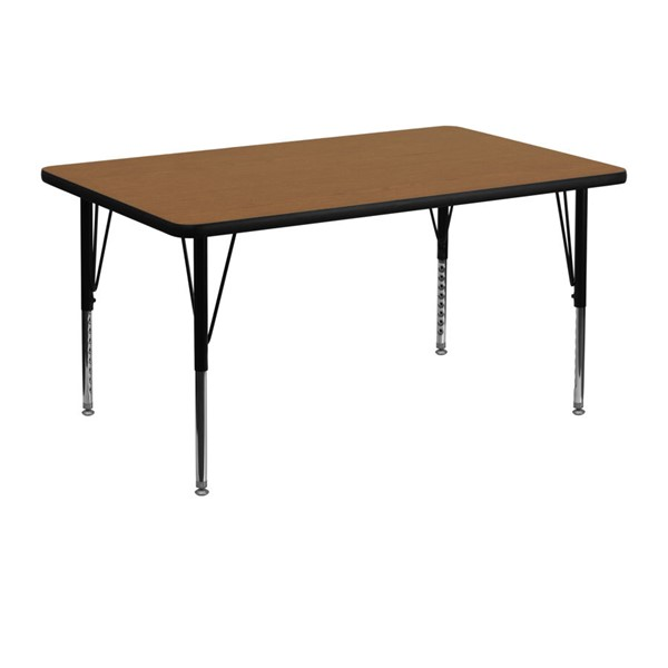 Flash Furniture Rectangular Table with Oak Thermal Top and Pre-School Legs FLF-XU-A3048-REC-OAK-T-P-GG