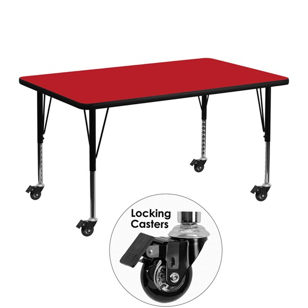 Mobile 30 x 48 Rectangular Activity Table with Thick Red Laminate Top FLF-XU-A3048-REC-RED-H-P-CAS-GG