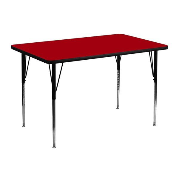 30 W X 48 L Rectangular Table W/Red Thermal Top & Adjustable Legs FLF-XU-A3048-REC-RED-T-A-GG