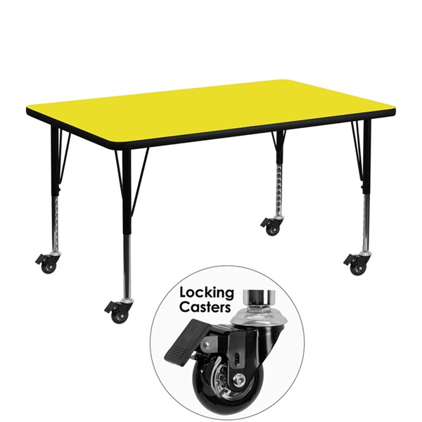 Yellow Wood Metal Mobile Rectangle Activity Table W/Adjustable Legs FLF-XU-A3048-REC-YEL-H-P-CAS-GG