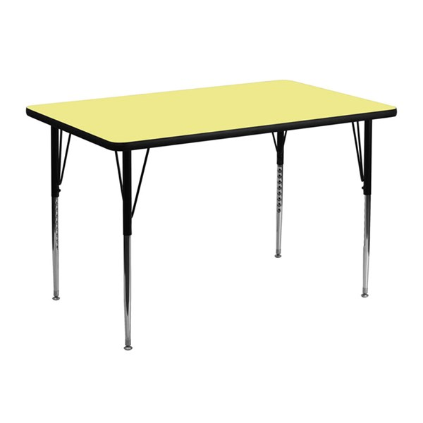 30 W X 48 L Rectangular Table W/Yellow Thermal Top & Adjustable Legs FLF-XU-A3048-REC-YEL-T-A-GG
