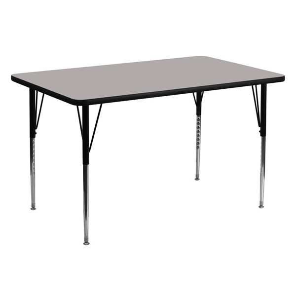 Flash Furniture Grey Rectangular Activity Table with Adjustable Legs FLF-XU-A3060-REC-GY-H-A-GG