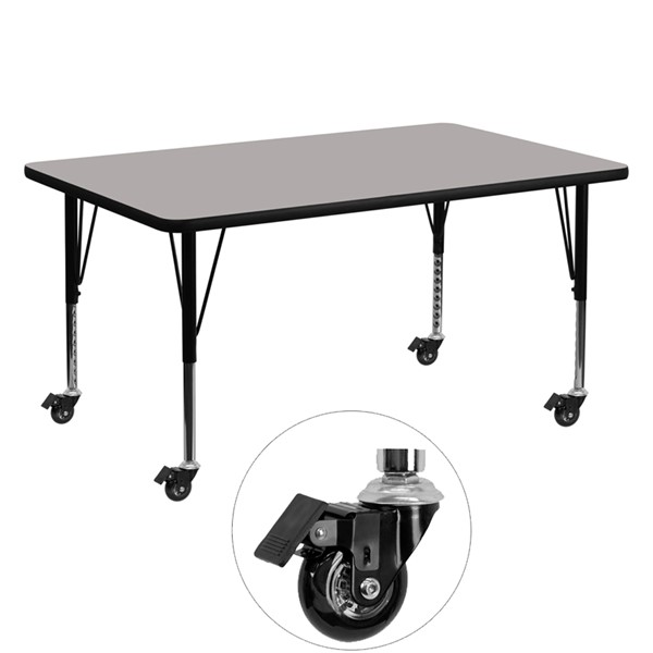 Flash Furniture Mobile 30 X 60 Rectangular Activity Table with Grey Laminate Top FLF-XU-A3060-REC-GY-H-P-CAS-GG