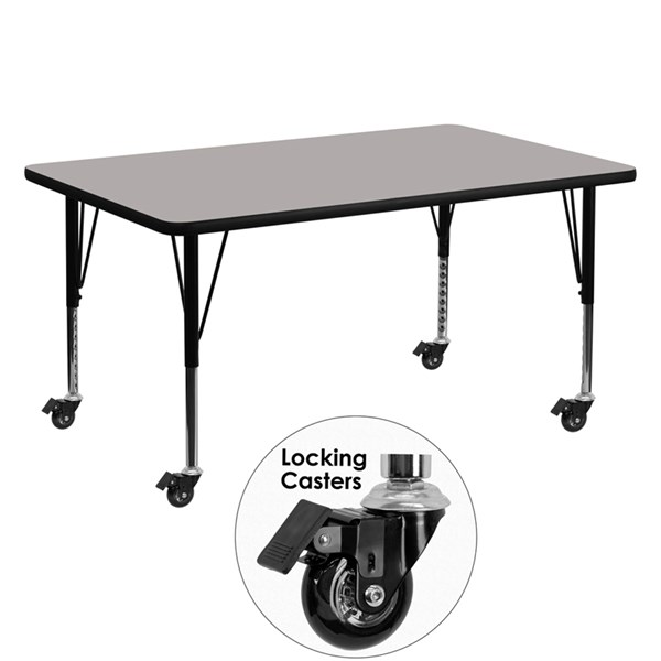 Mobile 30 x 60 Rectangular Activity Table with Grey Laminate Top FLF-XU-A3060-REC-GY-H-P-CAS-GG