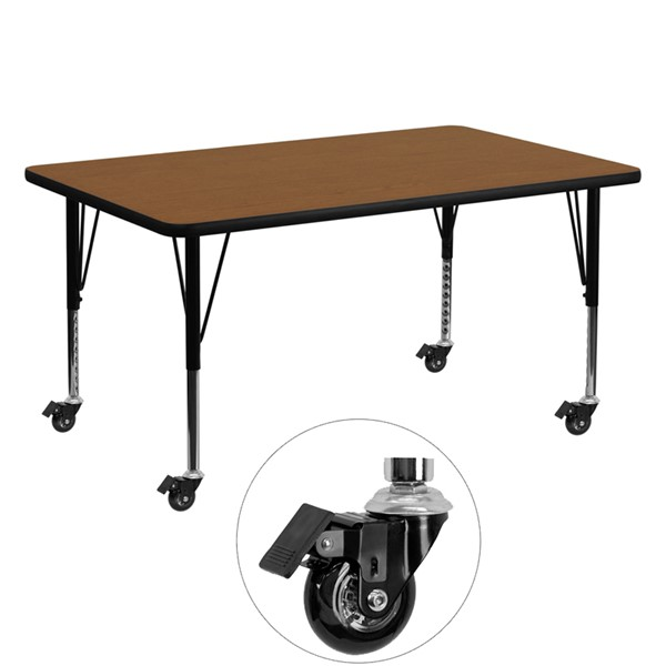 Flash Furniture Mobile 30 X 60 Rectangular Activity Table with Oak Laminate Top FLF-XUA3060-REC-OAK-HPCAS-GG