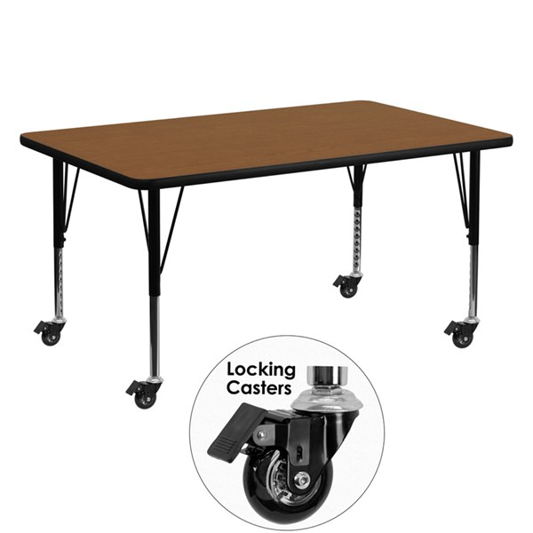 Mobile 30 x 60 Rectangular Activity Table with Laminate Top FLF-XU-A3060-REC-H-P-CAS-GG-KDSK-VAR