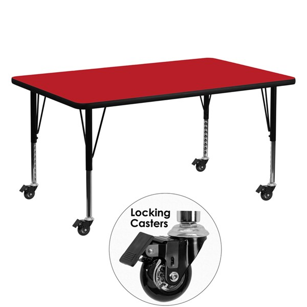 Mobile 30 x 60 Rectangular Activity Table with Red Laminate Top FLF-XU-A3060-REC-RED-H-P-CAS-GG