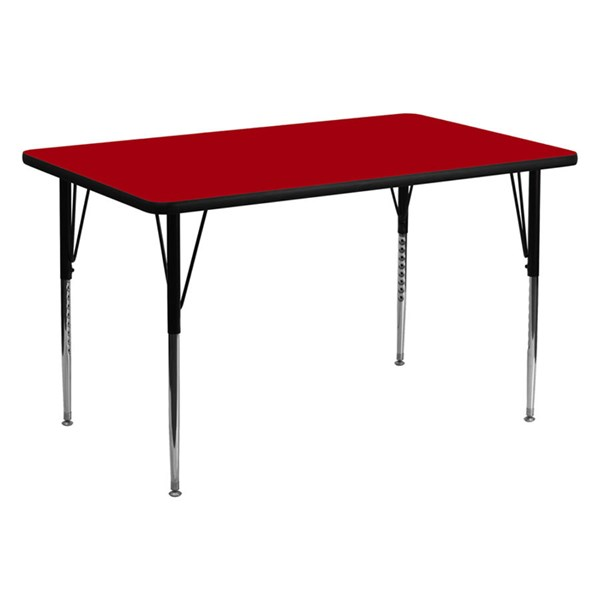 30 W X 60 L Rectangular Table W/Red Thermal Top & Adjustable Legs FLF-XU-A3060-REC-RED-T-A-GG