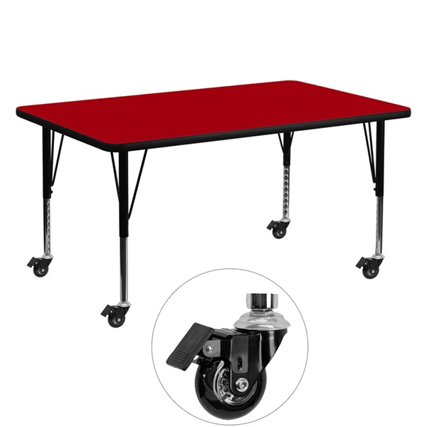 Flash Furniture Mobile 30 X 60 Activity Table with Red Thermal Fused Laminate Top FLF-XUA3060-REC-RED-TPCAS-GG