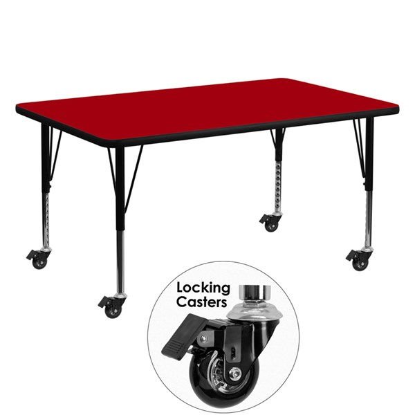 Flash Furniture Mobile 30 X 60 Activity Tables with Thermal Fused Laminate Top FLF-XU-A3060-REC-T-P-CAS-GG-KDSK-VAR