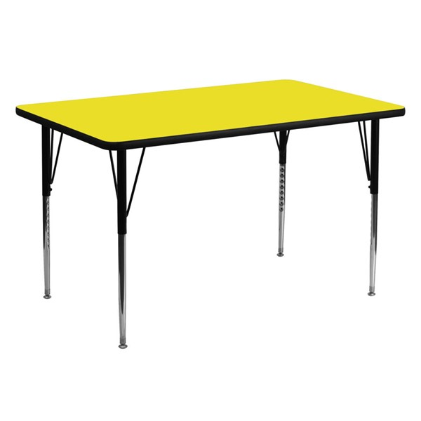 Flash Furniture Yellow Rectangular Activity Table with Adjustable Legs FLF-XU-A3060-REC-YEL-H-A-GG