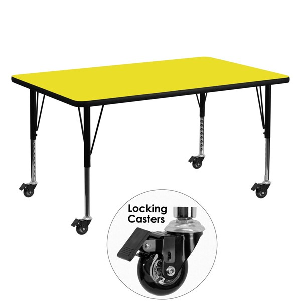 Flash Furniture Mobile 30 X 60 Rectangular Activity Table with Yellow Laminate Top FLF-XU-A3060-REC-YEL-H-P-CAS-GG