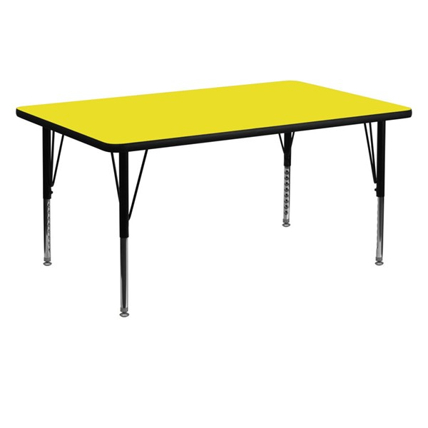 Flash Furniture Yellow Rectangular Activity Table with Pre-School Legs FLF-XU-A3060-REC-YEL-H-P-GG