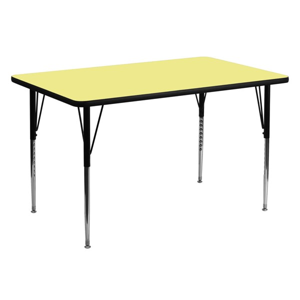 Flash Furniture Rectangular Table with Yellow Thermal Top and Adjustable Leg FLF-XU-A3060-REC-YEL-T-A-GG