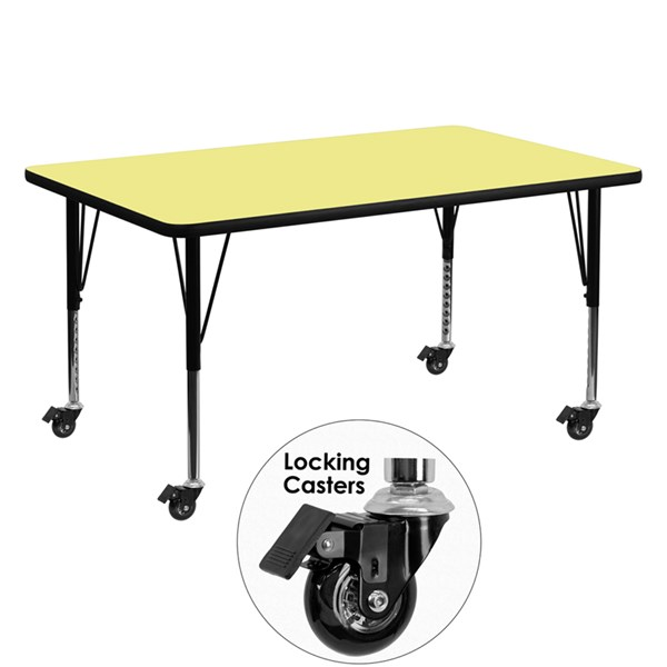 Mobile 30 x 60 Activity Table with Yellow Thermal Fused Laminate Top FLF-XU-A3060-REC-YEL-T-P-CAS-GG