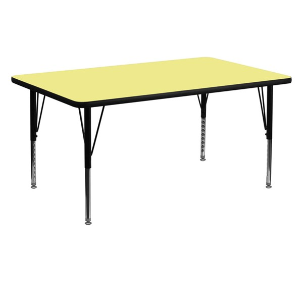 Flash Furniture Rectangular Table with Yellow Thermal Top and Pre-School Leg FLF-XU-A3060-REC-YEL-T-P-GG