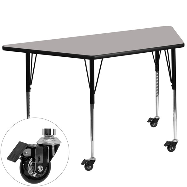 Flash Furniture Gray Wood Metal Mobile Trapezoid Activity Table FLF-XUA3060-TRAP-GY-HACAS-GG