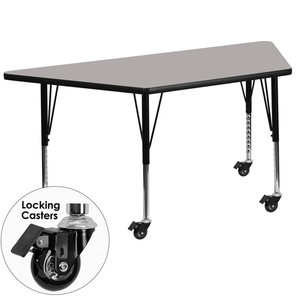 Mobile 30 x 60 Trapezoid Activity Table with Grey Laminate Top FLF-XU-A3060-TRAP-GY-H-P-CAS-GG