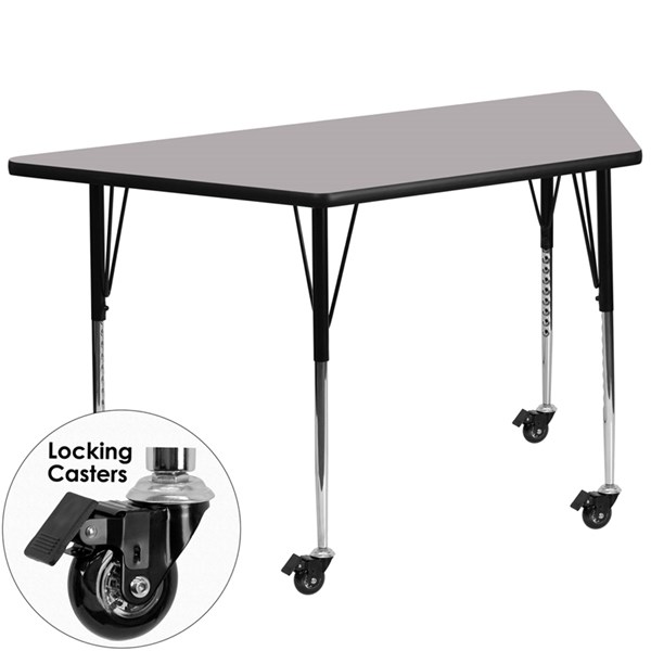 Gray Metal Wood Mobile Trapezoid Activity Table W/Locking Casters FLF-XU-A3060-TRAP-GY-T-A-CAS-GG