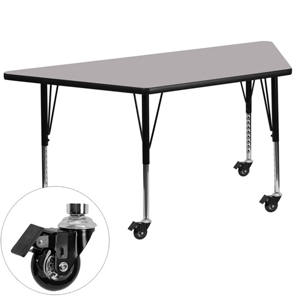 Flash Furniture Mobile 30 X 60 Trapezoid Activity Table with Grey Thermal Fused Top FLF-XU-A3060-TRAP-GY-T-P-CAS-GG