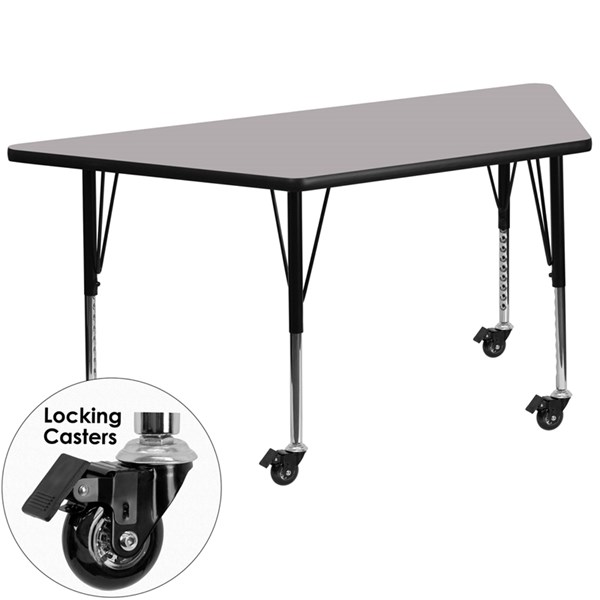 Mobile 30 x 60 Trapezoid Activity Table with Grey Thermal Fused Top FLF-XU-A3060-TRAP-GY-T-P-CAS-GG