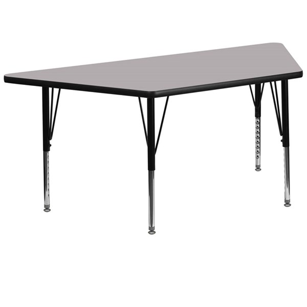 Flash Furniture Trapezoid Table with Grey Thermal Fused Top and Pre-School Legs FLF-XU-A3060-TRAP-GY-T-P-GG