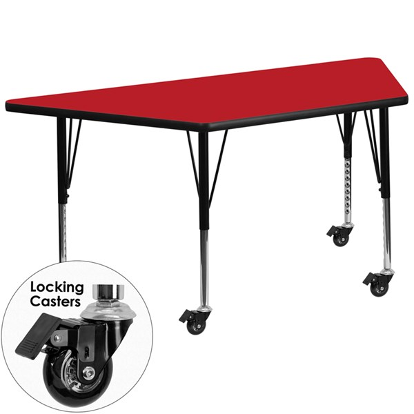 Mobile 30 x 60 Trapezoid Activity Table with Red Laminate Top FLF-XU-A3060-TRAP-RED-H-P-CAS-GG