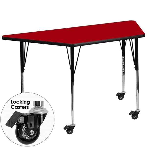 Mobile 30 X 60 Red Trapezoid Activity Table W/Thermal Fused Top FLF-XU-A3060-TRAP-RED-T-A-CAS-GG