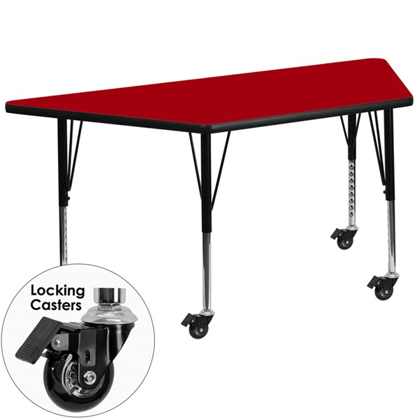 Mobile 30 x 60 Trapezoid Activity Table with Red Thermal Fused Top FLF-XU-A3060-TRAP-RED-T-P-CAS-GG
