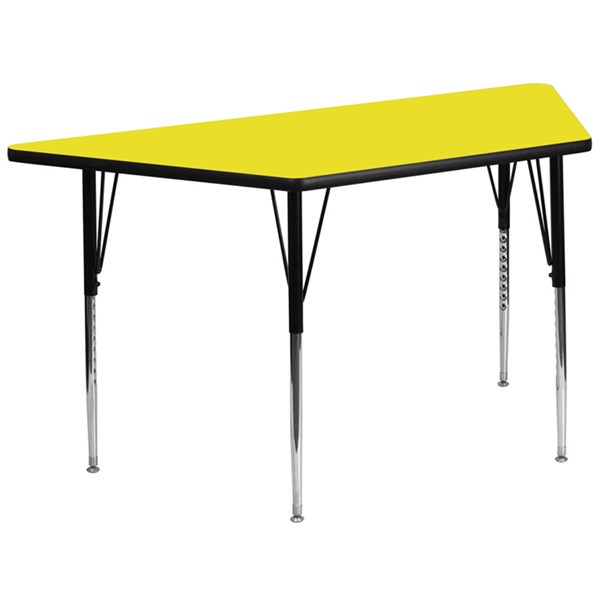 30 W X 60 L Trapezoid Activity Table W/Yellow Top & Adjustable Legs FLF-XU-A3060-TRAP-YEL-H-A-GG
