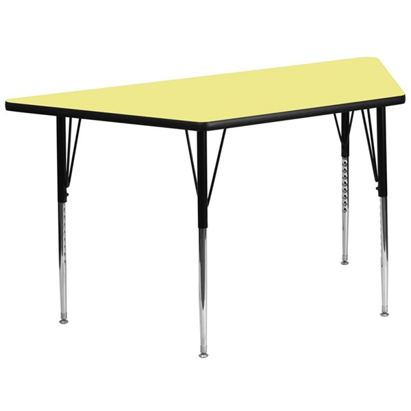 30 W X 60 L Trapezoid Table W/Yelow Thermal Fuse Top & Adjustable Legs FLF-XU-A3060-TRAP-YEL-T-A-GG