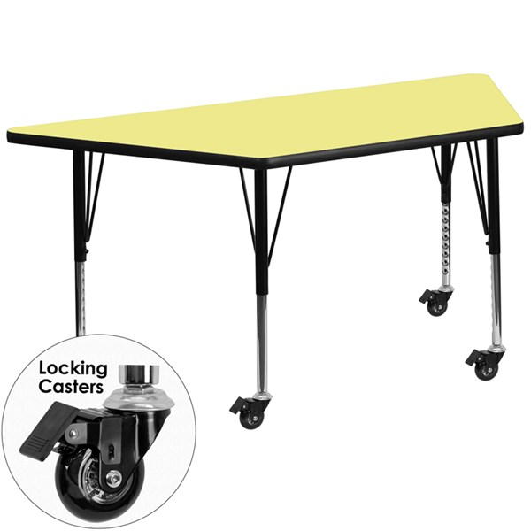 Mobile 30 x 60 Trapezoid Activity Table with Yellow Thermal Fused Top FLF-XU-A3060-TRAP-YEL-T-P-CAS-GG