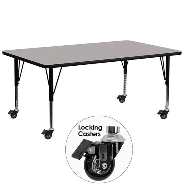 Mobile 30 x 72 Rectangular Activity Table with Grey Laminate Top FLF-XU-A3072-REC-GY-H-P-CAS-GG