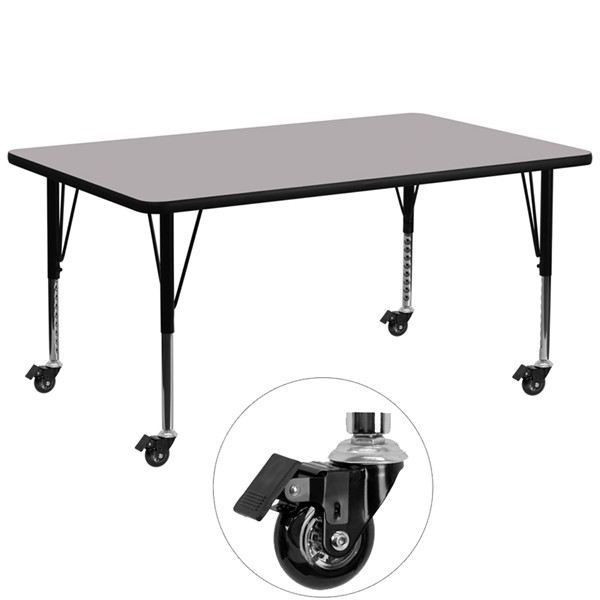 Flash Furniture Mobile 30 X 72 Activity Table with Grey Thermal Fused Laminate Top FLF-XU-A3072-REC-GY-T-P-CAS-GG