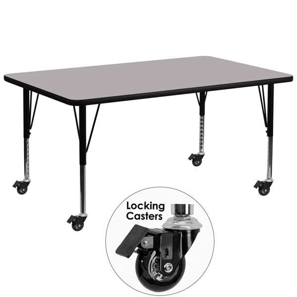 Mobile 30 x 72 Activity Table with Grey Thermal Fused Laminate Top FLF-XU-A3072-REC-GY-T-P-CAS-GG