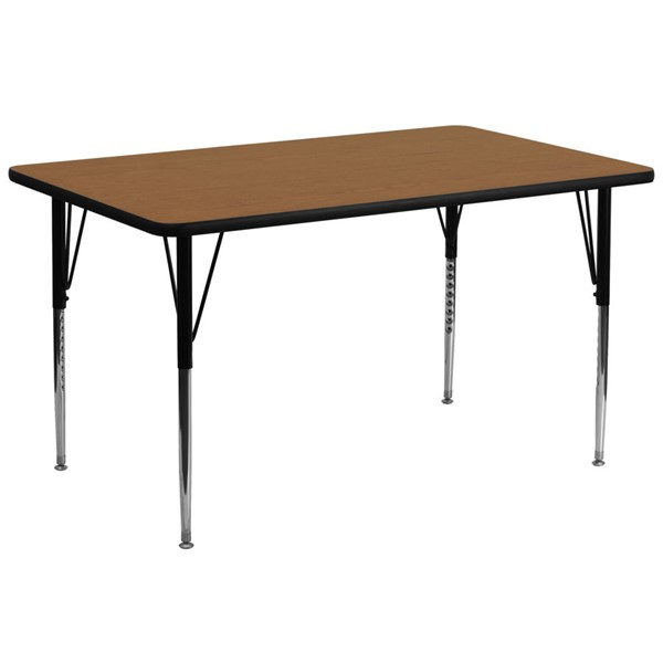 Flash Furniture Rectangular Table with Oak Thermal Fuse Top and Adjustable Legs FLF-XU-A3072-REC-OAK-T-A-GG