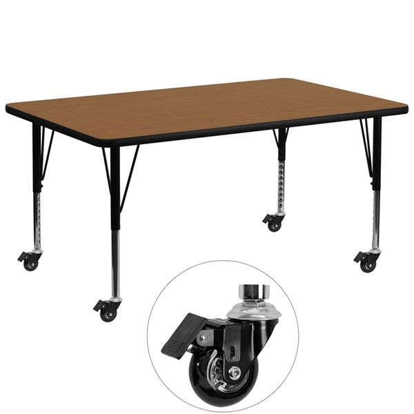 Flash Furniture Mobile 30 X 72 Activity Table with Oak Thermal Fused Laminate Top FLF-XU-A3072-REC-OAK-T-P-CAS-GG