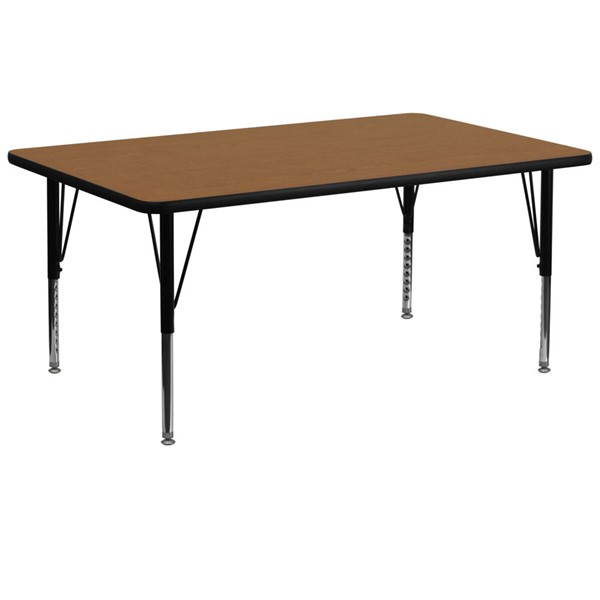Flash Furniture Rectangular Table with Oak Thermal Fuse Top and Pre-School Legs FLF-XU-A3072-REC-OAK-T-P-GG
