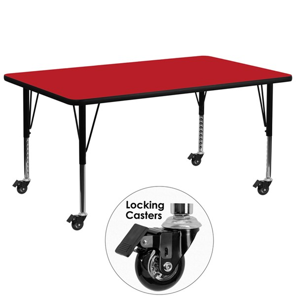 Mobile 30 x 72 Rectangular Activity Table with Red Laminate Top FLF-XU-A3072-REC-RED-H-P-CAS-GG