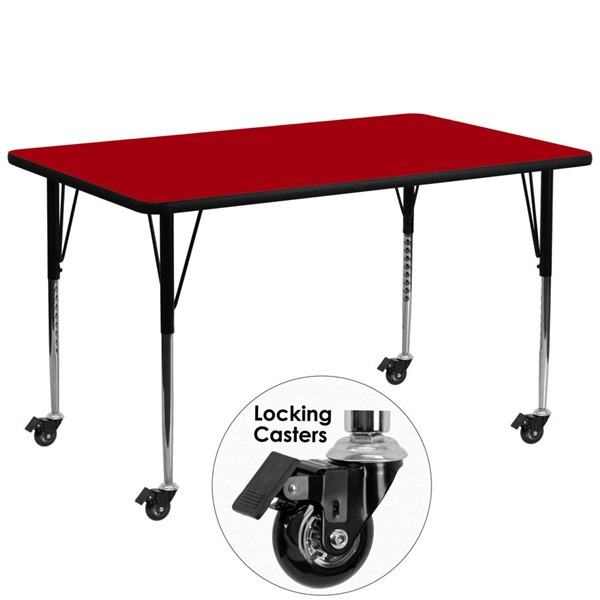 Flash Furniture Mobile 30 X 72 Red Activity Table with Thermal Fused Laminate Top FLF-XUA3072-REC-RED-TACAS-GG