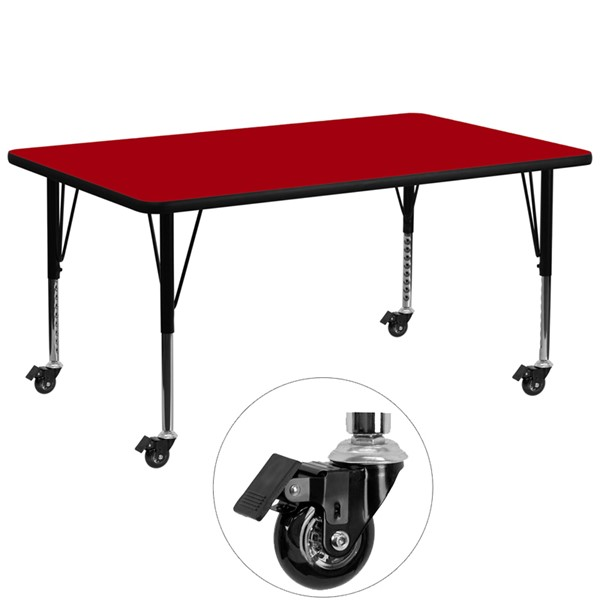 Flash Furniture Mobile 30 X 72 Activity Table with Red Thermal Fused Laminate Top FLF-XU-A3072-REC-RED-T-P-CAS-GG