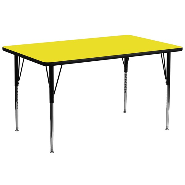 Flash Furniture Rectangular Activity Table with Yellow Top and Height Adjustable Legs FLF-XU-A3072-REC-YEL-H-A-GG