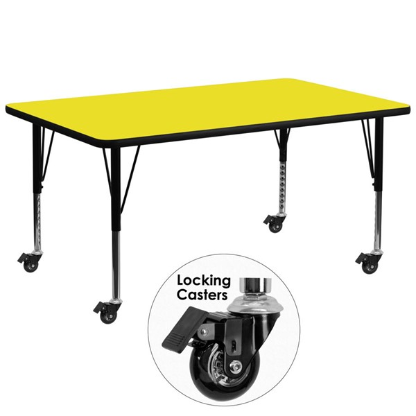Flash Furniture Mobile 30 X 72 Rectangular Activity Table with Yellow Laminate Top FLF-XUA3072-REC-YEL-HPCAS-GG