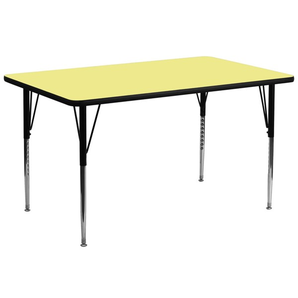 Flash Furniture Rectangular Table with Yellow Thermal Top and Adjustable Legs FLF-XU-A3072-REC-YEL-T-A-GG