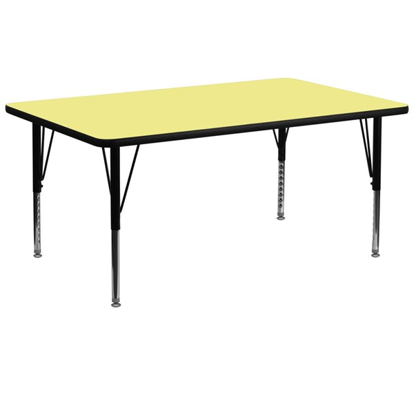 Flash Furniture Rectangular Table with Yellow Thermal Top and Pre-School Legs FLF-XU-A3072-REC-YEL-T-P-GG