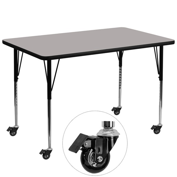 Flash Furniture Mobile 36 X 72 Gray Rectangle Activity Table with Laminate Top FLF-XU-A3672-REC-GY-H-A-CAS-GG
