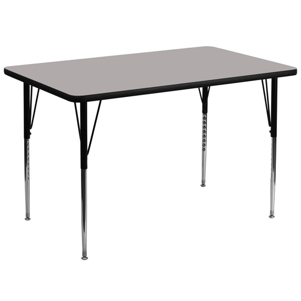 Flash Furniture Rectangular Activity Table with Grey Laminate Top and Adjustable Legs FLF-XU-A3672-REC-GY-H-A-GG