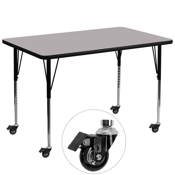 Flash Furniture Mobile 36 X 72 Gray Activity Table with Thermal Fused Laminate Top FLF-XU-A3672-REC-GY-T-A-CAS-GG