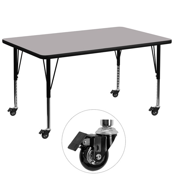 Flash Furniture Mobile 36 X 72 Activity Table with Grey Thermal Fused Laminate Top FLF-XU-A3672-REC-GY-T-P-CAS-GG