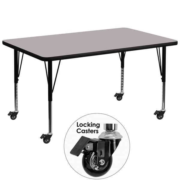Mobile 36 x 72 Activity Table with Grey Thermal Fused Laminate Top FLF-XU-A3672-REC-GY-T-P-CAS-GG